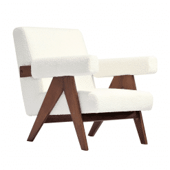 Pierre J Lounge Arm Chair Soft UPH in White Boucle Fabric and Solid Ash Walnut Frame