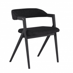 Riddle Dining Chair in Activated Charcoal and Ebonized Seared Oak Frame
