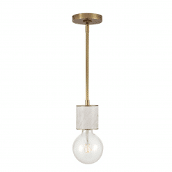 Rocco Pendant in Vintage Brass and White Marble