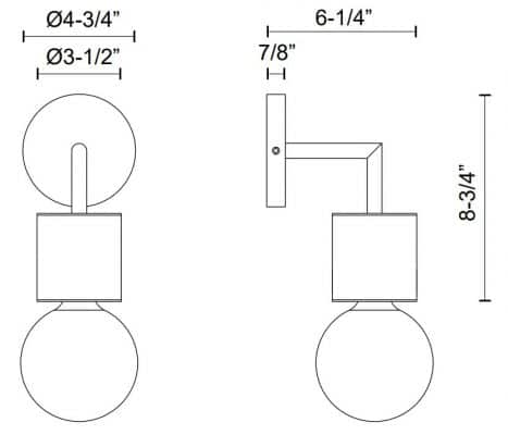 Rocco Wall Sconce Dimensions