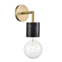 Rocco Wall Sconce in Vintage Brass and Black Marble