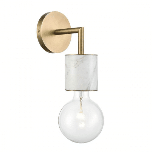 Rocco Wall Sconce in Vintage Brass and White Marble