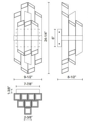 Rowland H Wall Sconce Dimensions
