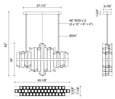 Rowland Linear Pendant Dimensions