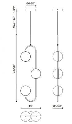 Tagliato Light Pendant Dimensions