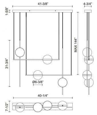 Tagliato Light Chandelier Dimensions