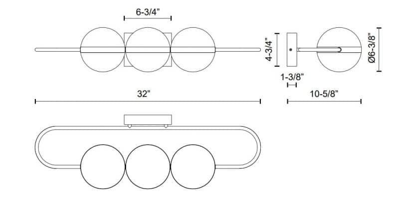 Tagliato Linear Wall Sconce Dimensions