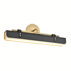 Valise W Wall Sconce in Vintage Brass and Tuxedo Leather