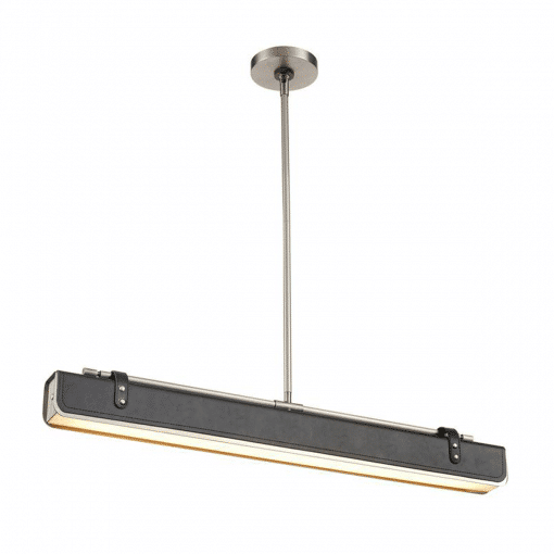 Valise W Linear Pendant in Aged Nickel and Tuxedo Leather