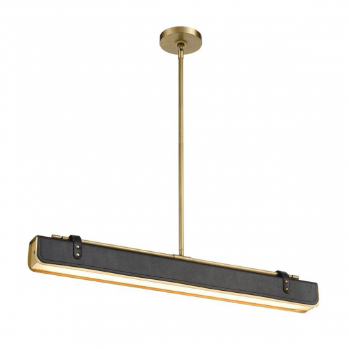 Valise W Linear Pendant in Vintage Brass and Tuxedo Leather
