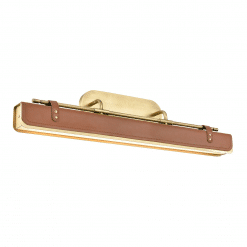 Valise W Wall Sconce in Vintage Brass and Cognac Leather