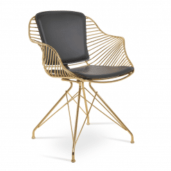 Zebra Dining Chair in Polished Gold and Black PPM FR